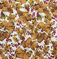 Ткань в стиле прованс смородиновые листья, фон светлый беж, цвет № 1