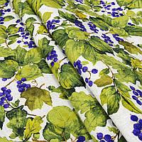 Ткань в стиле прованс смородиновые листья, фон светлый беж, цвет № 2