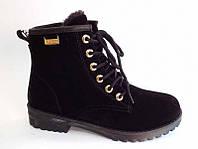 Зимние чёрные женские ботинки на меху тёплые под замшу на шнурках  Z-087