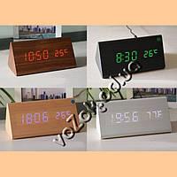 Часы-будильник светодиодные настольные под дерево Wooden Clock с термометром Призма большая модель 1301, фото 1