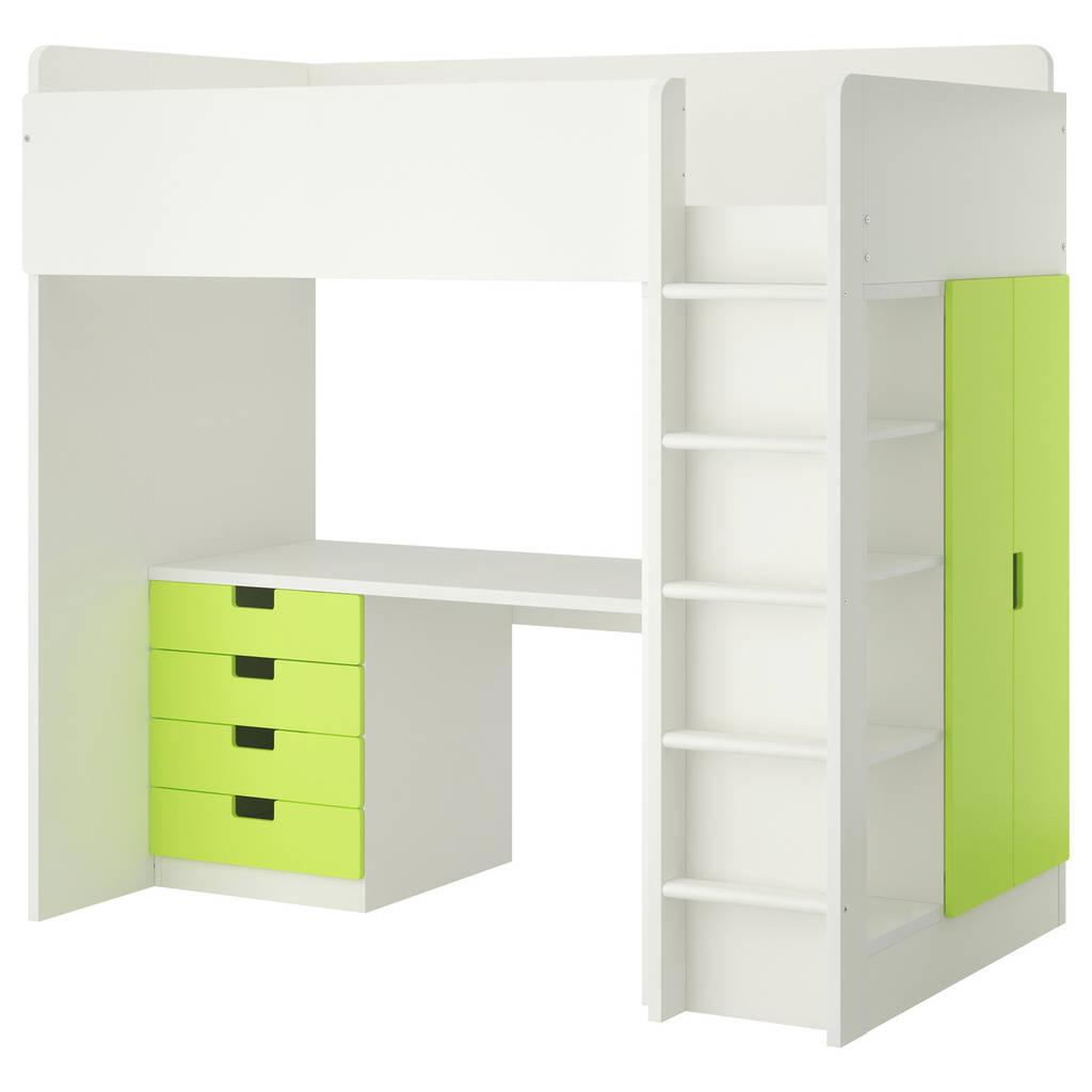 Комбинация кровати и рабочего места IKEA STUVA с полками 207x99x193 см белый зеленый 390.274.85