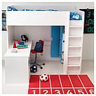 Комбинация кровати и рабочего места IKEA STUVA с полками 207x99x193 см белый зеленый 390.274.85, фото 3