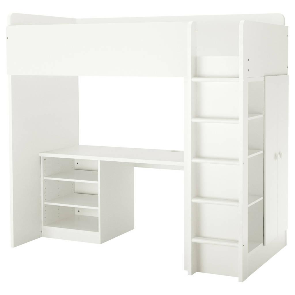 Комбинация кровати и рабочего места IKEA  STUVA / FÖLJA с полками 207x99x193 см белый 991.806.10