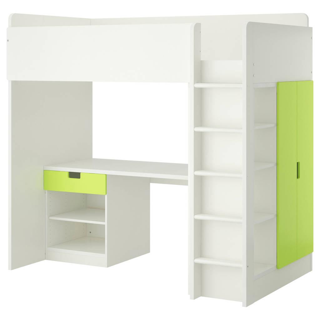 Комбинация кровати и рабочего места IKEA STUVA с полками 207x99x193 см белый зеленый 790.273.13