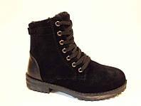 Зимние тёплые   ботинки женские на меху чёрные  под замшу на шнурках  Z-090