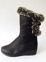 Зимние тёплые  сапоги женские на меху чёрные  с опушкой  Z-019