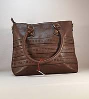 Коричневая женская вместительная сумка 11004