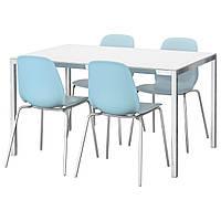 TORSBY / LEIFARNE Стол и 4 стула, стекло белый, светло-голубой