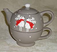 Набор чайник+кружка новогодняя с обьемными вставками