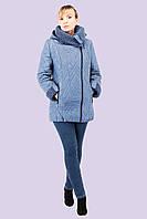 Осенне - зимняя стеганная женская куртка с довязом большого размера 50-58