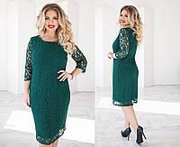 Женское платье с гипюром ткань трикотаж зеленое до 54 размера