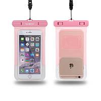 Водонепроницаемый чехол Sumer для смартфона до 5'' розовый