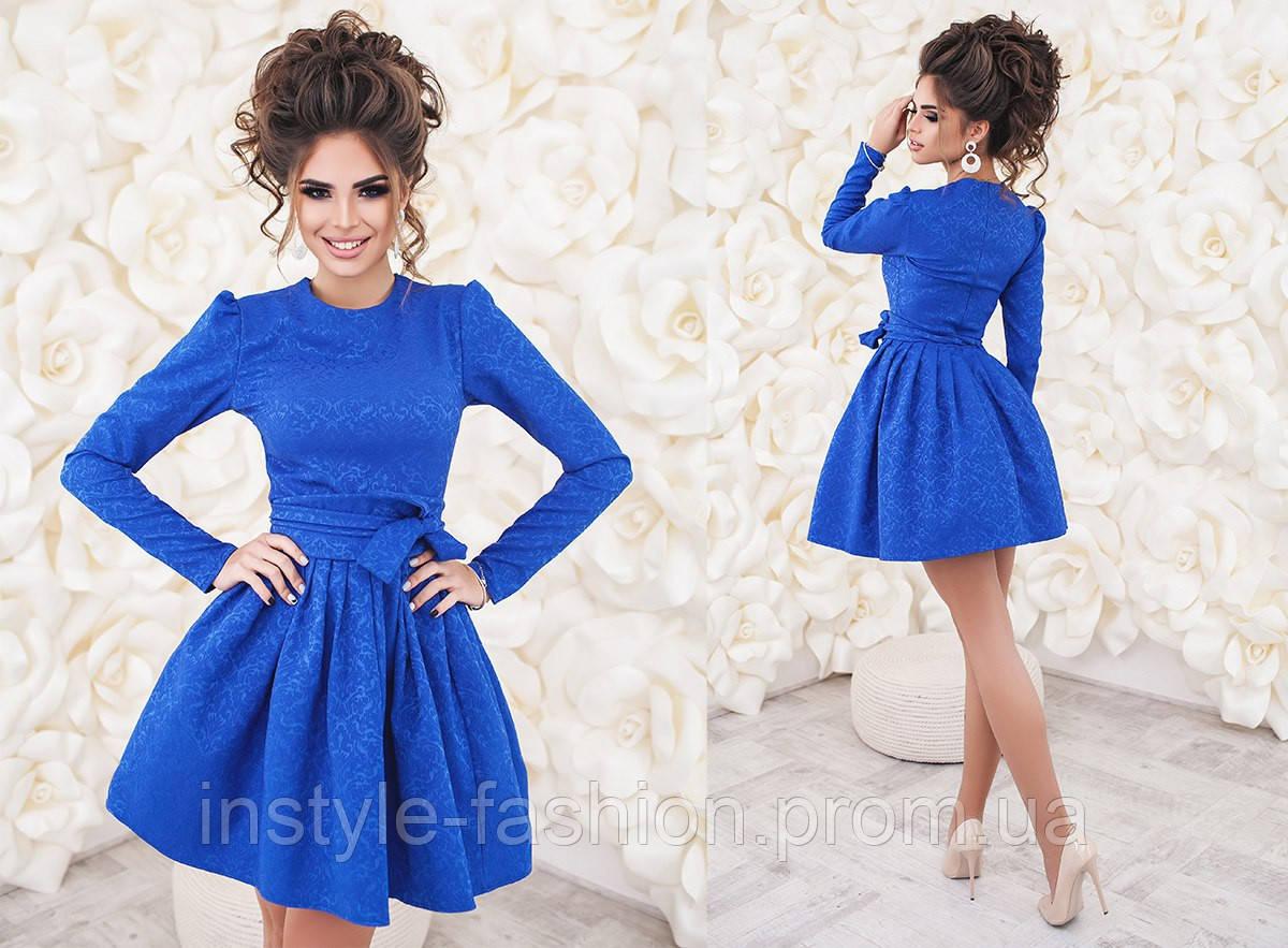 Очень красивое платье с фатином ткань жаккард цвет синий