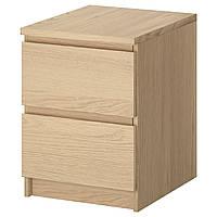 MALM Комод с 2 ящиками, дубовый шпон, беленый