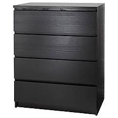 MALM Комод, 4 ящика, czarnobrąz 501.033.45