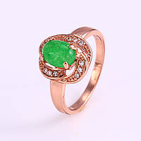 Кольцо 12246 размер 16, зеленый камень, позолота РО, фото 1