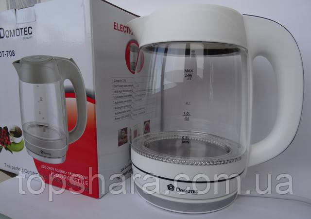 Электрочайник стекло Domotec DT-708 чайник 2 л. Белый