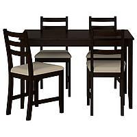 LERHAMN Стол и 4 стула, czarnobrąz, Vittaryd бежевый
