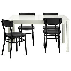 Комплект для столовой IKEA BJURSTA / IDOLF 140 см стол и 4 кресла белый черный 199.320.87