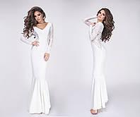Очень красивое нарядное платье в пол с гипюром ткань крепдайвинг цвет белый