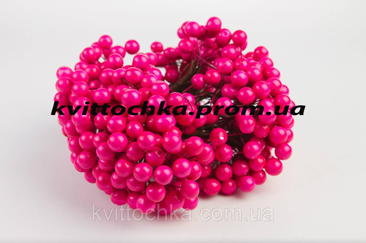 """Ягоды """"Калина"""" ярко розовая на проволоке 12 мм."""