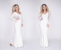 Очень красивое нарядное платье в пол с гипюром ткань крепдайвинг цвет белый до 52 размера