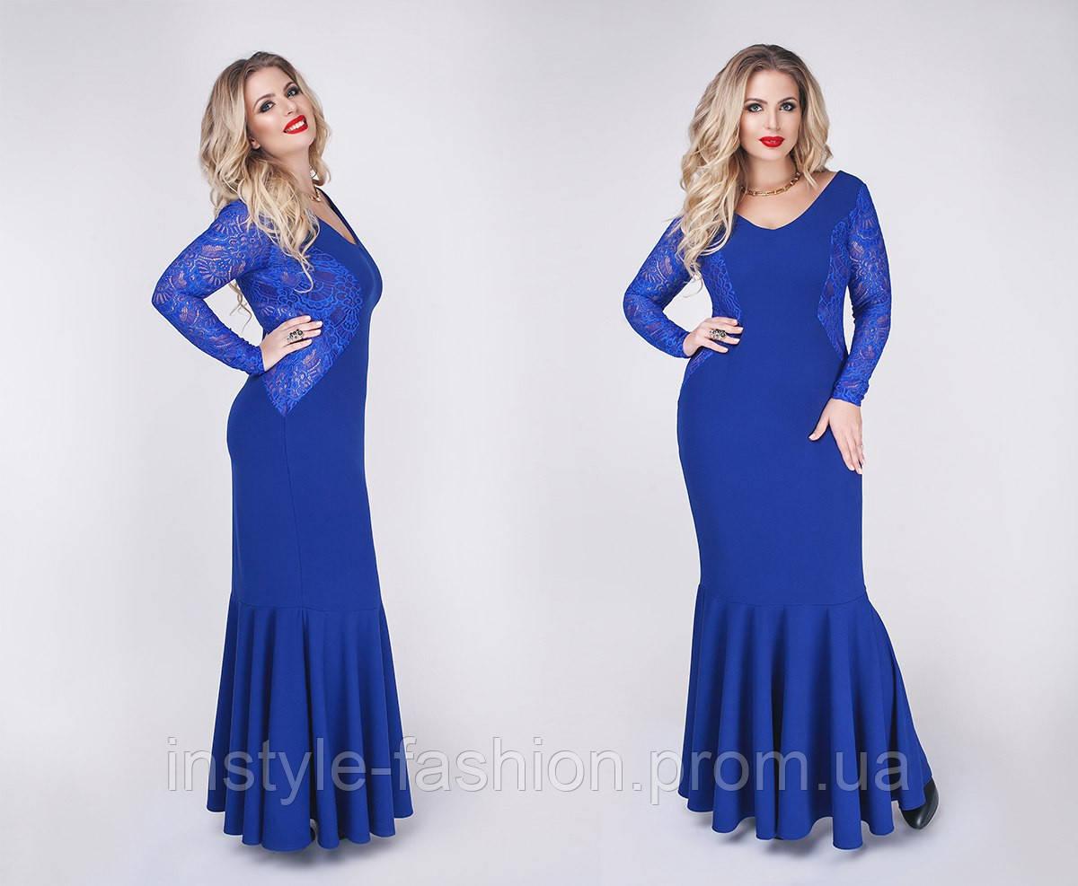 Очень красивое нарядное платье в пол с гипюром ткань крепдайвинг цвет синий до 52 размера