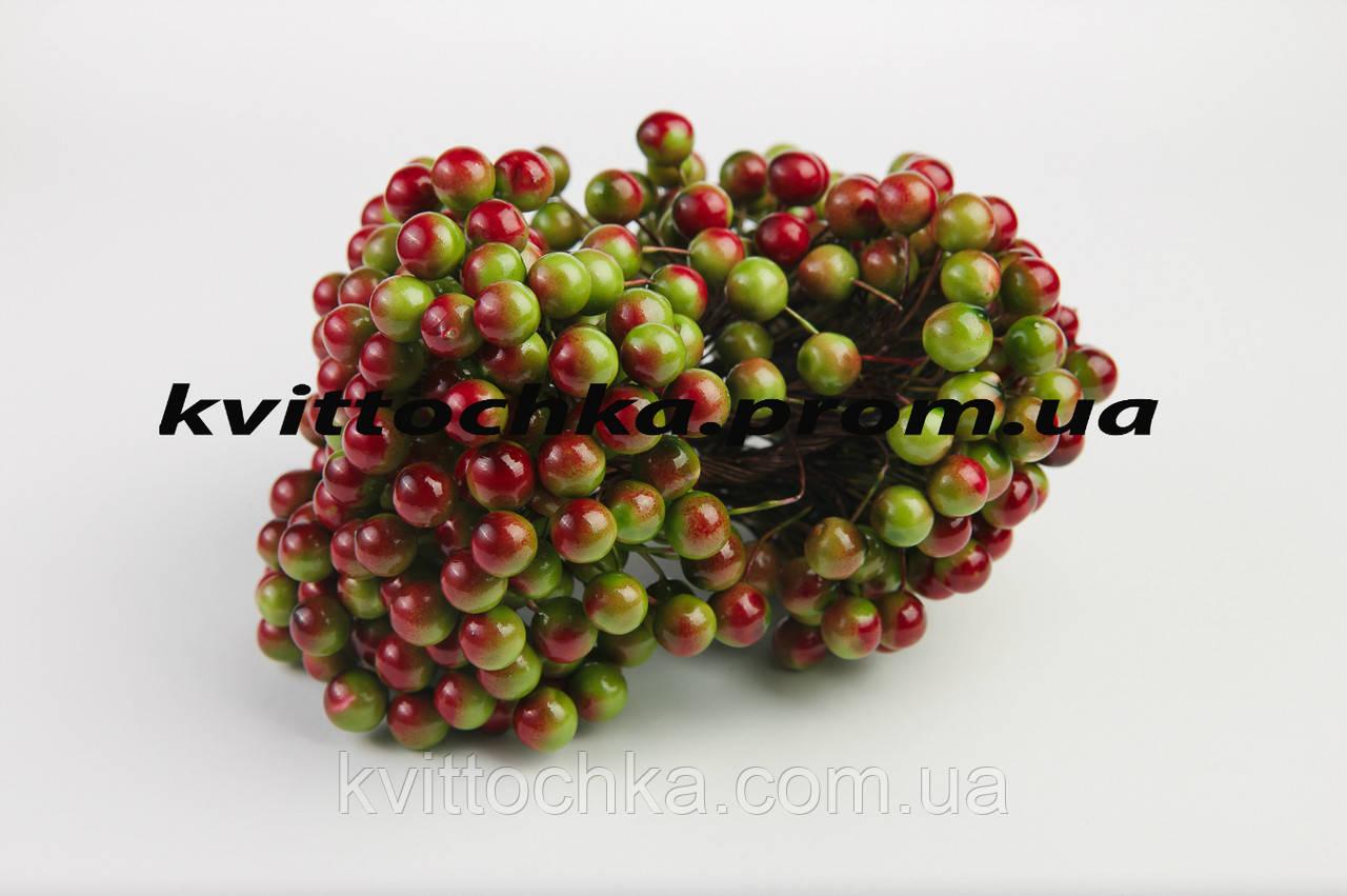 """Ягоды """"Калина"""" зелено-красная на проволоке 12 мм."""