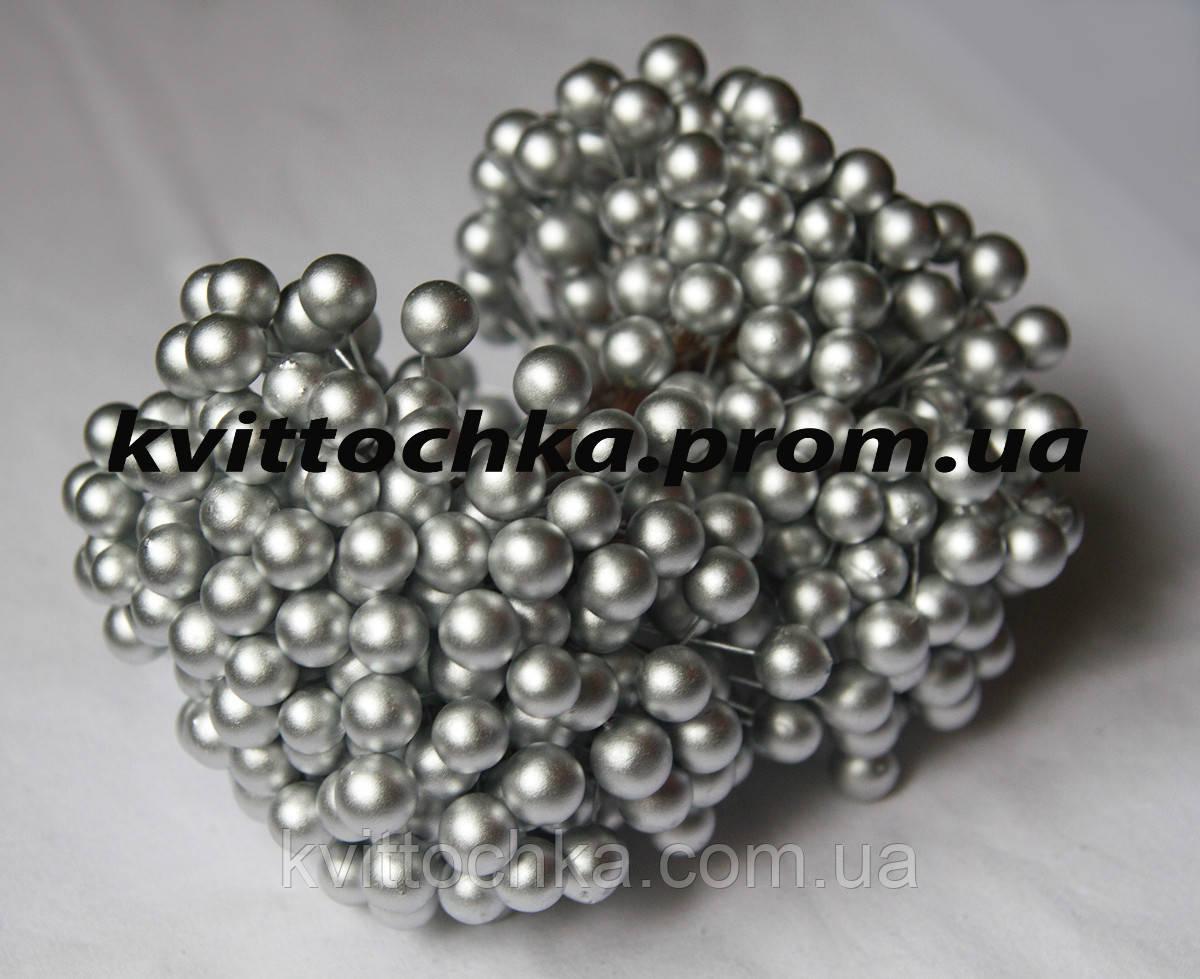 "Ягоды ""Калина"" серебро на проволоке 12 мм."