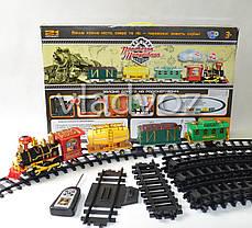 Детская игрушечная железная дорога поезд, настоящий дым, звук, свет прожектора Путешественник на управлении, фото 3