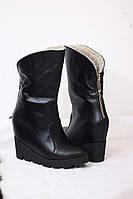 Женские стиляжные зимние ботиночки на удобной колодке от TroisRois из натуральной турецкого замша ЧЕРНЫЙ 2