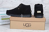 Ботинки топ-сайдеры мужские UGG Australia черные замшевые низкие на шнуровке, Черный, 42
