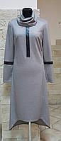 Платье Simona (Италия),трикотаж,кожаная отделка,ассиметричная длина