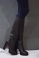 Женские зимние ботфорты европейка от TroisRois из натуральной турецкой кожи и цигейке