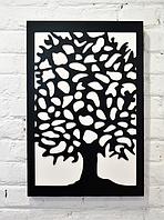 """Панно черное """"Большое белое дерево"""""""