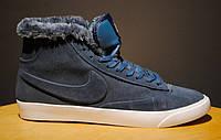 Кроссовки Nike Blazers High Blue (Мех)
