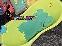 Матрасик для купания в детскую ванночку (с двумя мочалками) зеленый