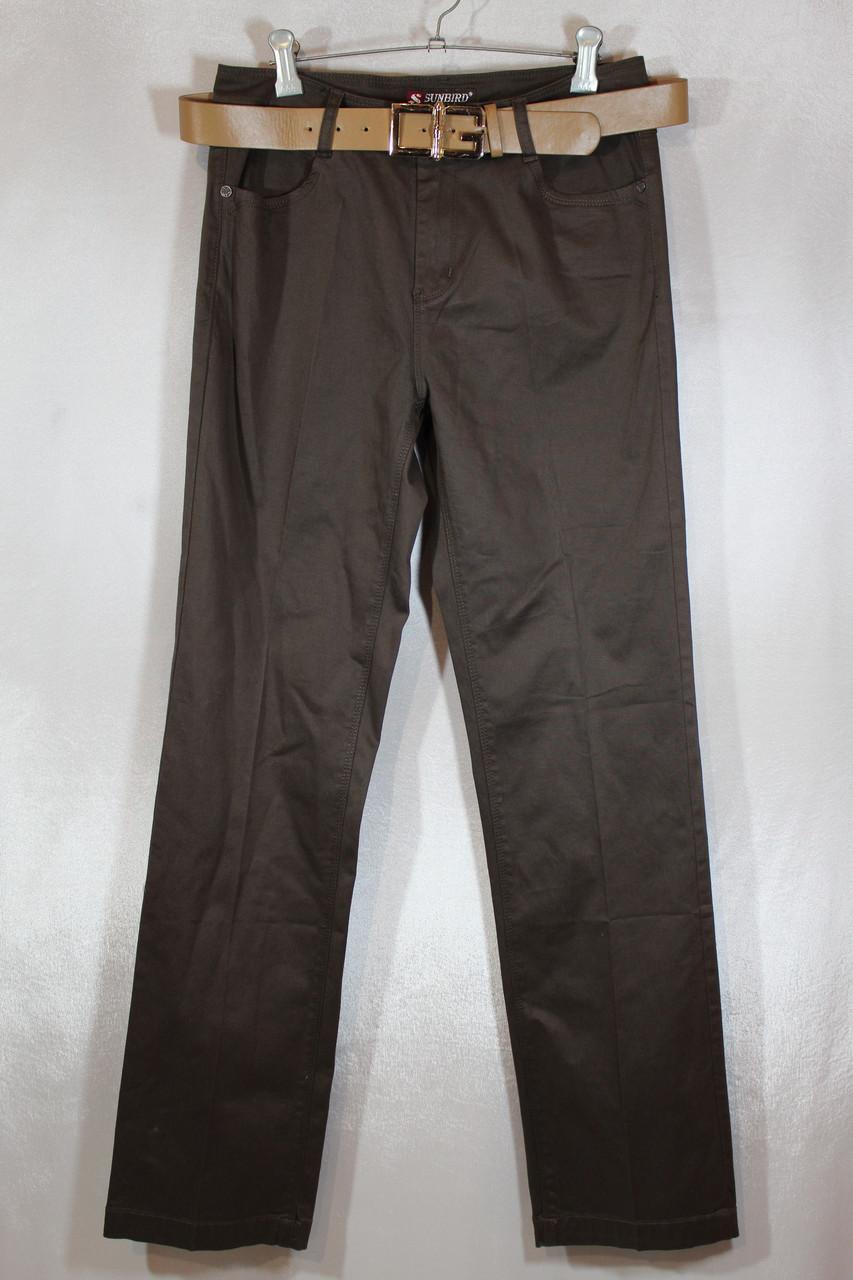 Женские коричневые джинсовые брюки большого размера