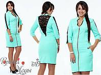 Красивое бирюзовое платье на молнии. р-ры от 48 до 54. 5 цветов