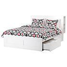 Каркас кровати IKEA BRIMNES 160x200 см с изголовьем белый 590.991.55, фото 2