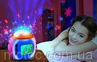 Музыкальные часы с будильником, проектор Звездное небо, детский светильник высшего качества