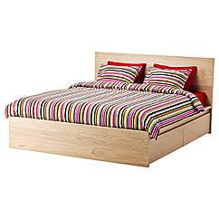 MALM Каркас кровати, высота, 4 емкости, дубовый шпон × белый, Luröy 890.274.21