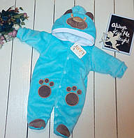 """Велюровый утепленный человечек """"Мишка"""" для новорожденного. Размер 56/62"""