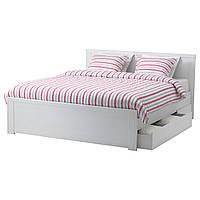 BRUSALI Каркас кровати/4 емкостями, белый, Leirsund