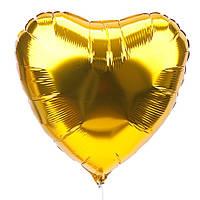 Шар сердце 23см золотое