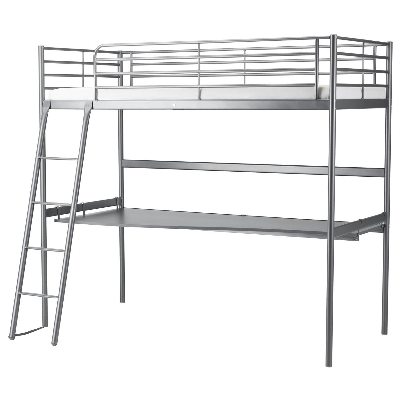 SVÄRTA Каркас кровати со столешницей, серебристый 591.512.71