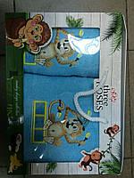 Набор из 2 полотенец Турция с обезьянками. Подарочная упаковка