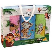 Полотенца кухонные махровые с обезьянками 3 штуки Турция, отличный подарок на новый год