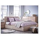 Каркас кровати IKEA MALM 140x200 см 4 ящика дубовый шпон  белый Leirsund 391.754.28, фото 3
