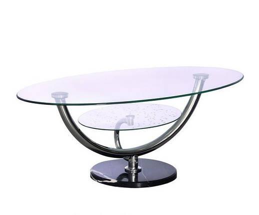 Стол журнальный A 221 хром/стекло прозрачное/ ножка/белый или чёрный, фото 2